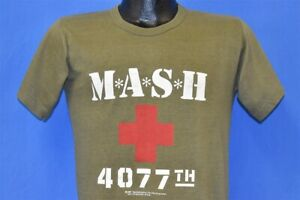 vtg 80s s M*A*S*H 4077TH TV SHOW MOBILE ARMY HOSPITAL OLIVE GREEN MASH t-shirt S