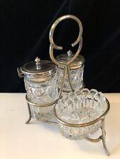 Pretty Vintage Silver Plated Cut Glass Condiment Cruet Set