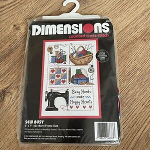 """NEW VTG 90s DIMENSIONS Counted Cross Stitch Kit SEW BUSY 5"""" X 7"""" Hobby Gift 6683"""