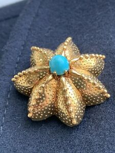 Tiffany & Co 18K Gold Turquoise Starfish Seastar Pin Brooch 16.9 Grams