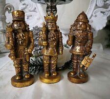 3er Set Nutcracker Figurine Gold Christmas Advent Landhaus Shabby Vintage