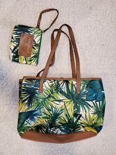 NINE WEST Floral Multi-Pocket Tote Handbag with Wristlet Brown Green Tropical