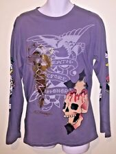 Ed Hardy Men Skull Cross And Gold Foil Dragon Gray Long Sleeve Tee Free Shipping