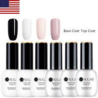 6Pcs 15ML UV Gel Nail Art Polish Set Soak Off Black White Base Top Coat UR Sugar