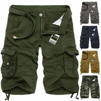 Casual Mens Cotton Summer Army Combat Pants Camo Work Cargo Shorts Trousers 36#