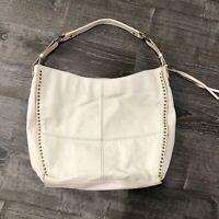 The Sak Womens Purse Hobo Tote Handbag Shoulder Bag Ivory Pebbled Leather Studs