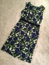 Milly 2 Blue Green Floral Dress Sheath Professional Work Cotton USA