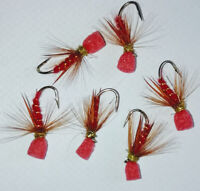 dry fly size 12 Ref BL60 6 No.BARBLESS Black Hopper with red butt