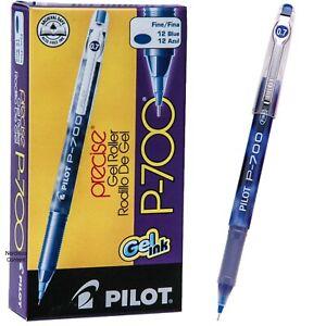 Pilot P700 Fine 38611, Blue Ink, 0.7mm Precise Gel Roller Pen, Box of 12 Pens