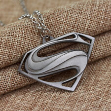 """SUPERMAN (NEW LOGO) PEWTER TONE Deluxe Pendant on Heavy Link 20"""" Chain"""