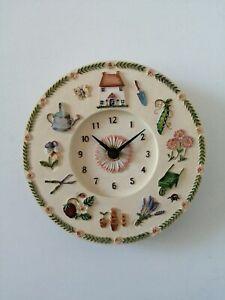 Ceramic Wall Clock English Cottage Garden Theme Beautifully Ornate Heavy