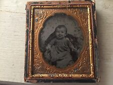 RARE VINTAGE CHILD: Baby Sitting and Smiling Ambrotype Sixth Plate