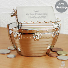 Personalised Boat Money Box. Silver Noahs Ark Moneybox Christening Gift Birthday