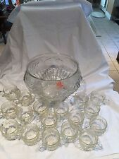 VINTAGE DESIGN  Cristal GRAPE CLUSTERS  PUNCH SET BOWL 30 PCS