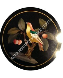 "12"" Black Marble Round Coffee Center Table Top Bird Marquetry Inlay Decor H4814"