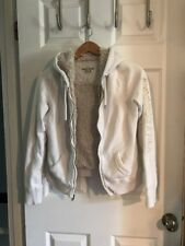 Abercrombie & Fitch Faux Fur Zip Up Off White Jacket Hoodie Women's Size Medium