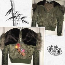 Juicy Couture Faux Fur Trimmed Hooded Parka/Bomber/Tour Jacket w/Back Embroidery