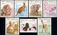 Laos 1986 Panda/Giraffe/Elephant/Koala/Flamingo/Lion/Animals/Nature 7v set b6357