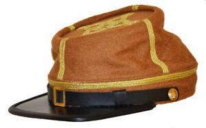 Civil War Union Butternut Major 3 Row of Gold Braid Leather Peak Kepi All Sizes!