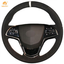 MEWANT Black Suede Steering Wheel Cover for Cadillac ATS 2013-2015 CTS 2014-2016