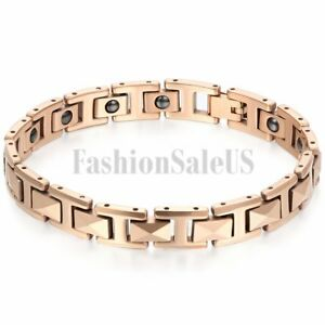 Mens Charm Rose Gold Tone Tungsten Carbide Health Energy Magnetic Bracelet Chain