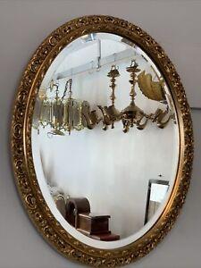 Antique Vintage Wooden Hollywood Gold Gilt Mirror - Oval , Bevelled 52cm By 42cm