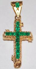 Cross Pendant 18k solid Gold with 12 AAA+ Colombian Natural Green Muzu Emeralds
