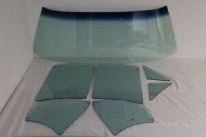 1964 Pontiac Convertible Glass Windshield Vent Door Quarter Set Green Tint