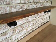 Reclaimed Wood Shelf ,With Industrial Iron Steampunk Brackets . Pallet Wood,