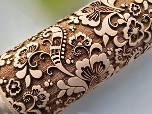 Engraved Wooden Rolling Pin Embossed Dough Roller Paisley Rolling Cookie Cutter