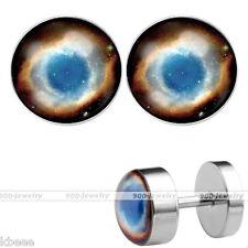 2pc Steel 16G Helix Nebula God Eyes Fake Plug Expander Cheater Ear Stud Earrings