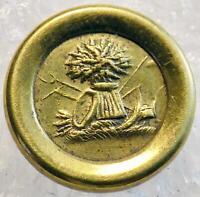 Antique Jacksonian Gold Guilt  Button Sheath of Wheat 1820s-30s