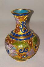 """Vintage 3"""" Cloisonne Vase Pink Blue Gold Green Red Peony Flower Design Asian"""