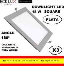 3 DOWNLIGHT LED 18W CUADRADO EMPOTRABLE EXTRAPLANO,BLANCO FRIO,NATURE O CALIDO.