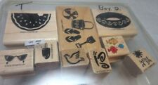9x Stampin' Up rubber stamps. Summer, beach