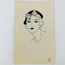 "Vintage 1932 Women's Fashion Sketch Drawing Art 9/6/32 Signed RAF 5 1/2"" x 9"""