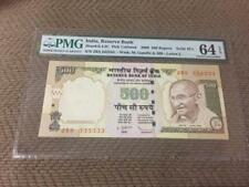 India Demonetized 500 Rs 2009 Fancy Serial Number '333333' PMG Graded 64 EPQ