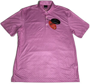 $70 NWT Greg Norman Mens L Microlux ML75 Play Dry Pink Golf Polo All Over Print