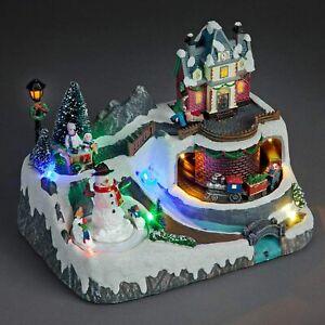 Musical Animated Village Train Christmas Scene LED Festive Decoration 21cm Tall