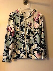 Floral Zip-Up Hooded Sweatshirt Medium