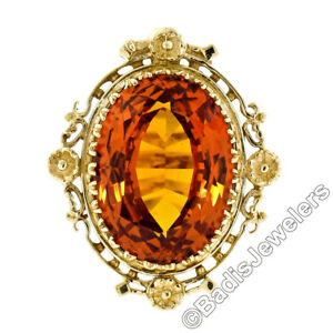 Vintage 14K Yellow Gold 12.0ct Large Oval Citrine Solitaire Ring w/ Floral Halo