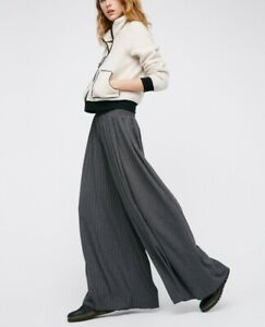 Free People Grey Love Me Wide Leg Trousers BNWT Size Xs RRP $70