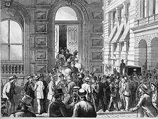 Duncan Sherman & Co. BANKING HOUSE FAILURE Bank Panic 1875 Antique Print Matted