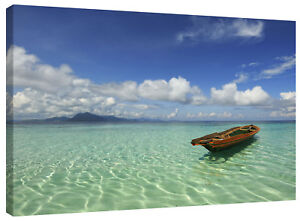 Tropical Desert Island Lagoon Boat Canvas Wall Art Picture Landscape Print