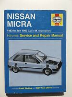 Nissan Micra 1983 to 1993 Haynes Owner's Workshop Service & Repair Manual 0931