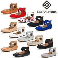DREAM PAIRS Womens Elastic Ankle Strap Mary Jane Ladies Dress Flat Shoes