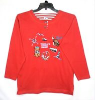 Vintage Yessica Womens Sweatshirt Small Embroidered Teddy Bear Nautical Design