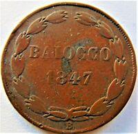 ITALY1847 B PAPAL STATES PIUS IX Anno 1, copper Baiocco grading  FINE