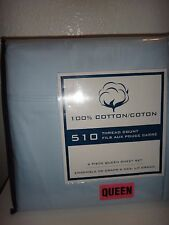 510 Thread Count 6 Piece Queen Sheet Set Light Blue 100% Cotton Made in India