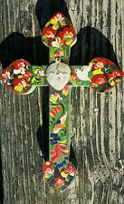 Painted Wood Cross 3D Mexico Handmade Milagro 9x6 Perpetuo Socorro Heart XR